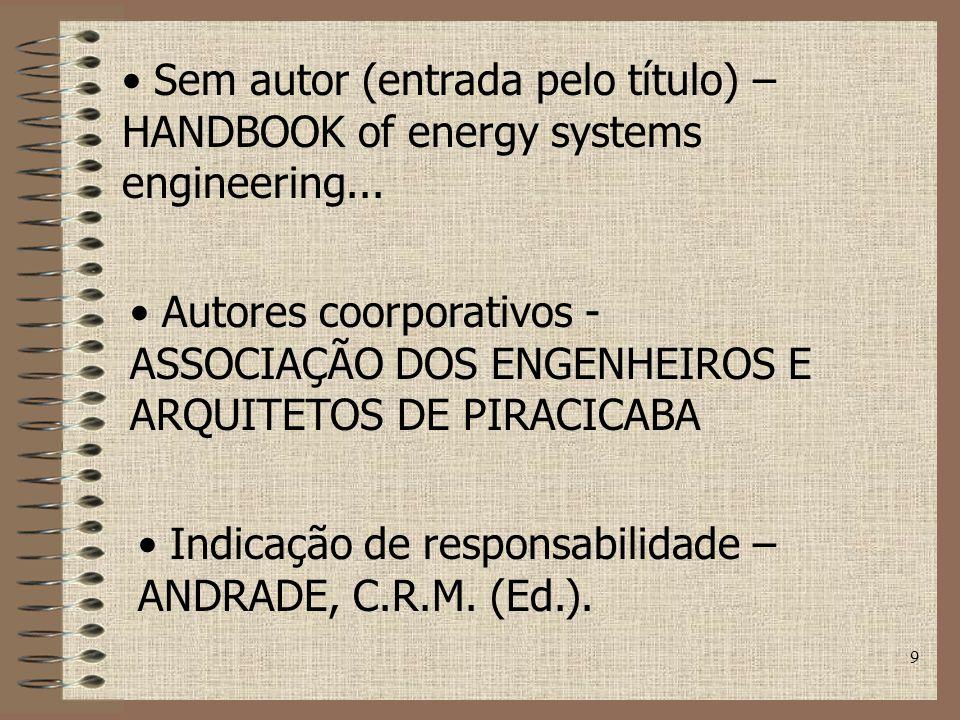 9 Sem autor (entrada pelo título) – HANDBOOK of energy systems engineering...
