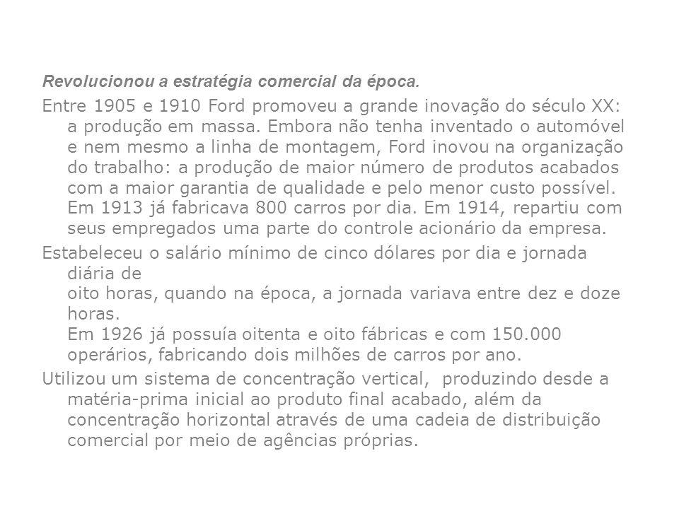 Revolucionou a estratégia comercial da época. Entre 1905 e 1910 Ford promoveu a grande inovação do século XX: a produção em massa. Embora não tenha in