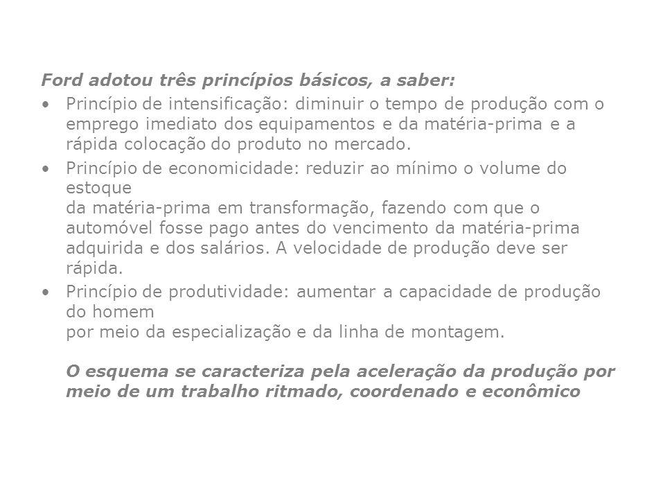 Ford adotou três princípios básicos, a saber: Princípio de intensificação: diminuir o tempo de produção com o emprego imediato dos equipamentos e da m