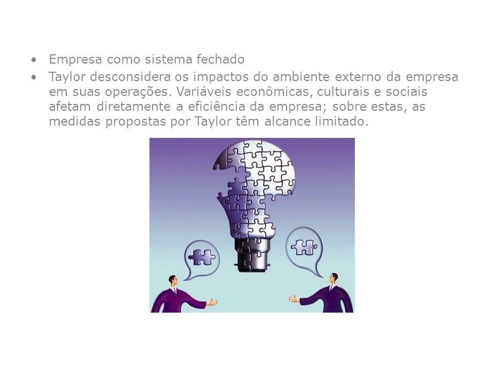Empresa como sistema fechado Taylor desconsidera os impactos do ambiente externo da empresa em suas operações. Variáveis econômicas, culturais e socia