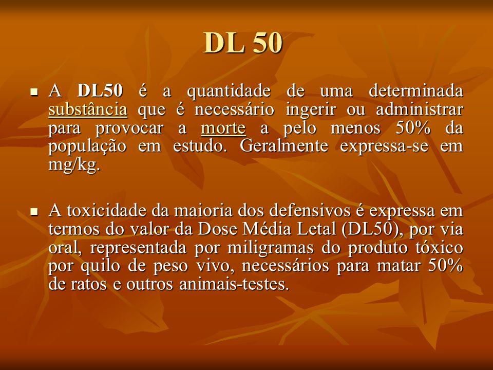 DL 50 A DL50 é a quantidade de uma determinada substância que é necessário ingerir ou administrar para provocar a morte a pelo menos 50% da população