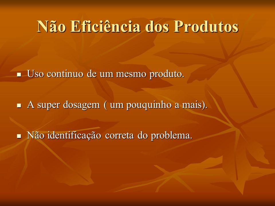 Não Eficiência dos Produtos Uso continuo de um mesmo produto. Uso continuo de um mesmo produto. A super dosagem ( um pouquinho a mais). A super dosage