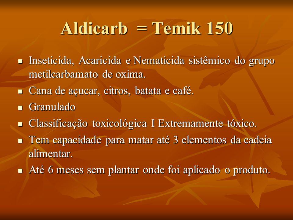Aldicarb = Temik 150 Inseticida, Acaricida e Nematicida sistêmico do grupo metilcarbamato de oxima. Inseticida, Acaricida e Nematicida sistêmico do gr
