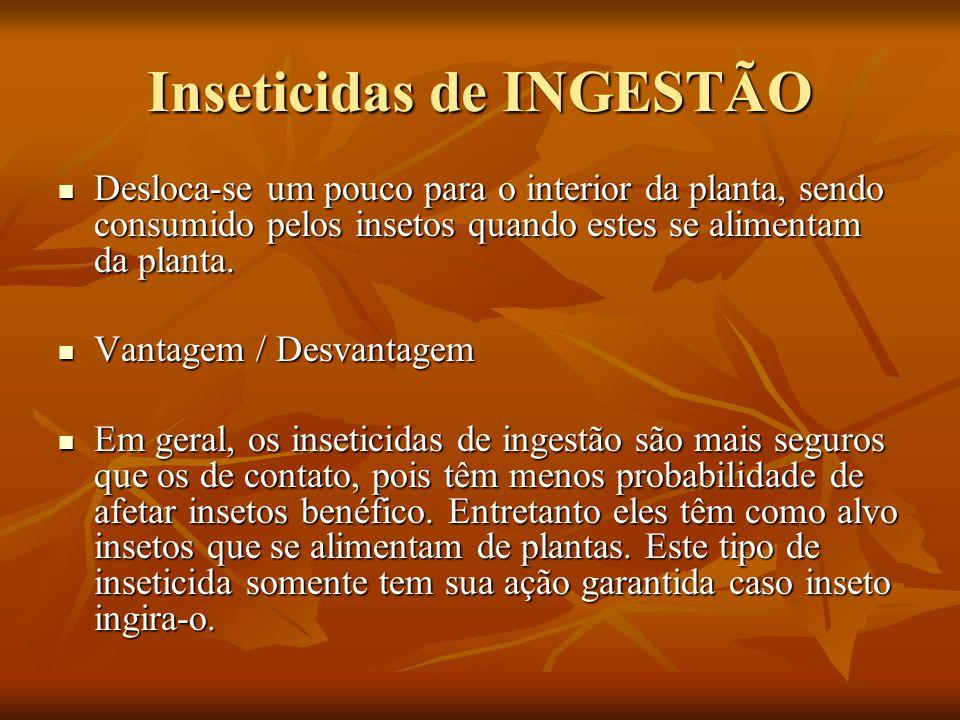 Inseticidas de INGESTÃO Desloca-se um pouco para o interior da planta, sendo consumido pelos insetos quando estes se alimentam da planta. Desloca-se u