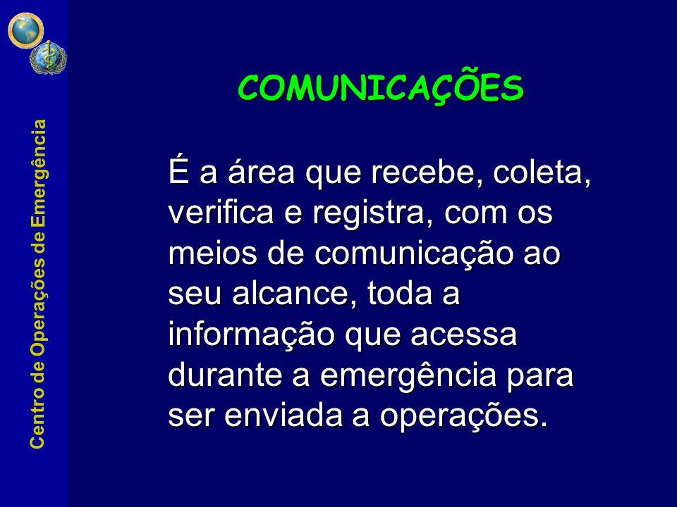 É a área que recebe, coleta, verifica e registra, com os meios de comunicação ao seu alcance, toda a informação que acessa durante a emergência para ser enviada a operações.