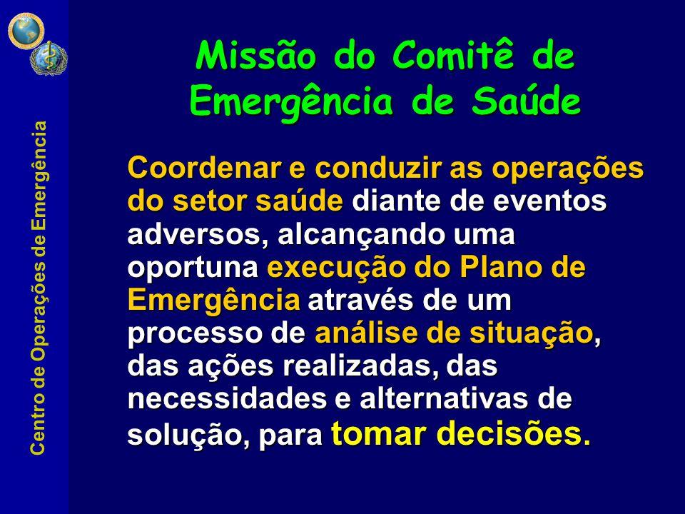 Centro de Operações de Emergência Área encarregada da coordenação, execução e monitoramento das ações de resposta, incluindo a mobilização de pessoal e recursos, avaliação de danos e necessidades e elaboração de relatórios de situação.