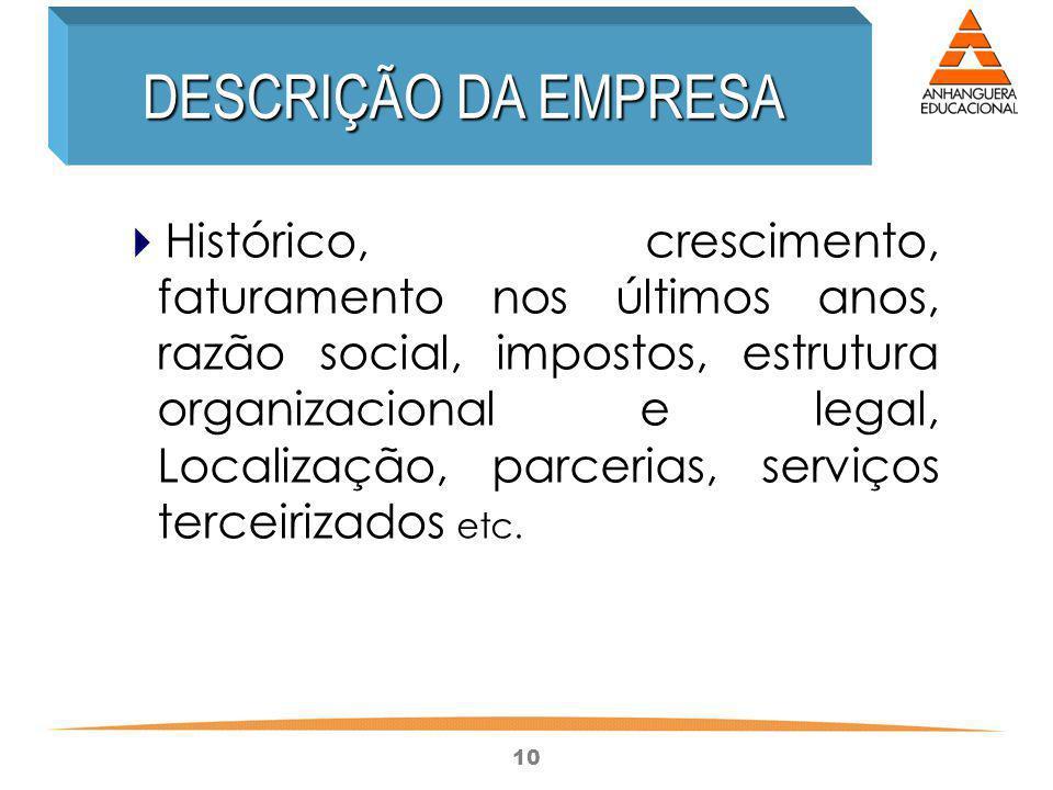 10 Histórico, crescimento, faturamento nos últimos anos, razão social, impostos, estrutura organizacional e legal, Localização, parcerias, serviços te