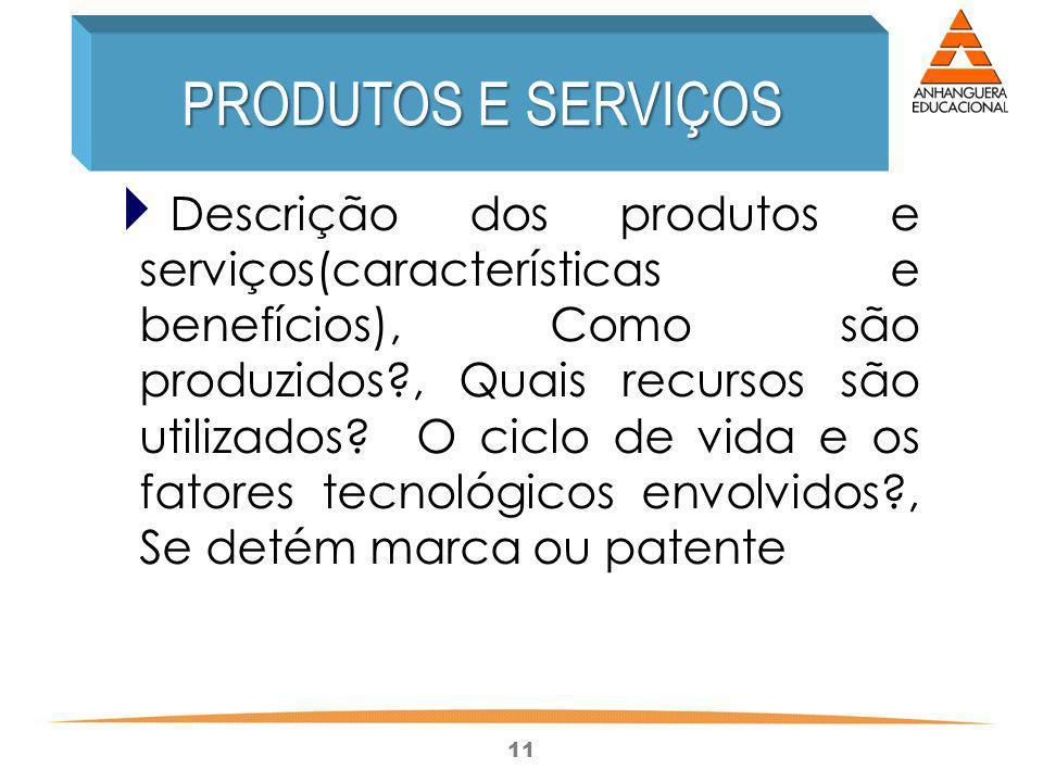 11 Descrição dos produtos e serviços(características e benefícios), Como são produzidos?, Quais recursos são utilizados? O ciclo de vida e os fatores