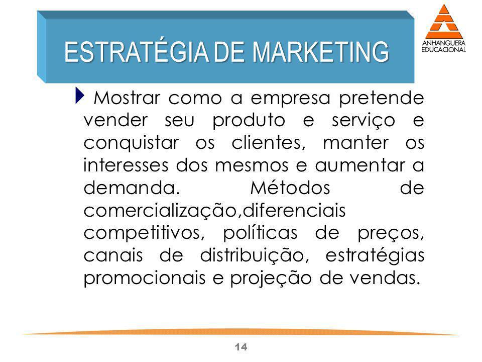 14 Mostrar como a empresa pretende vender seu produto e serviço e conquistar os clientes, manter os interesses dos mesmos e aumentar a demanda. Método