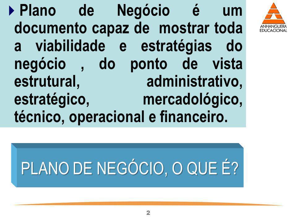 2 Plano de Negócio é um documento capaz de mostrar toda a viabilidade e estratégias do negócio, do ponto de vista estrutural, administrativo, estratég
