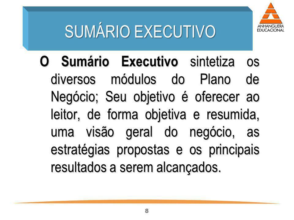 8 O Sumário Executivo sintetiza os diversos módulos do Plano de Negócio; Seu objetivo é oferecer ao leitor, de forma objetiva e resumida, uma visão ge