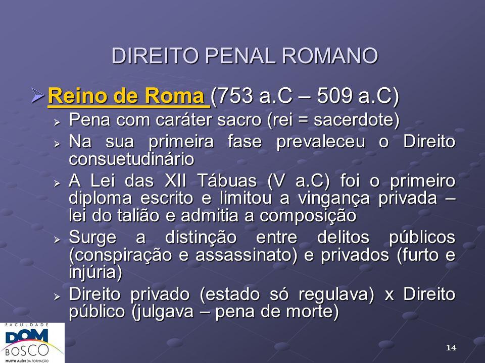 DIREITO PENAL ROMANO Reino de Roma (753 a.C – 509 a.C) Reino de Roma (753 a.C – 509 a.C) Pena com caráter sacro (rei = sacerdote) Pena com caráter sac