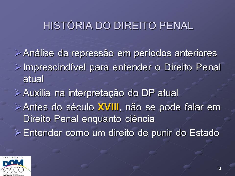 HISTÓRIA DO DIREITO PENAL Análise da repressão em períodos anteriores Análise da repressão em períodos anteriores Imprescindível para entender o Direi