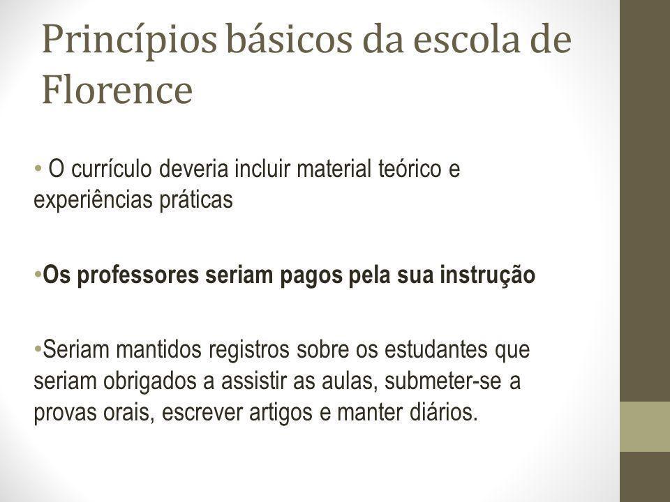 Princípios básicos da escola de Florence O currículo deveria incluir material teórico e experiências práticas Os professores seriam pagos pela sua ins