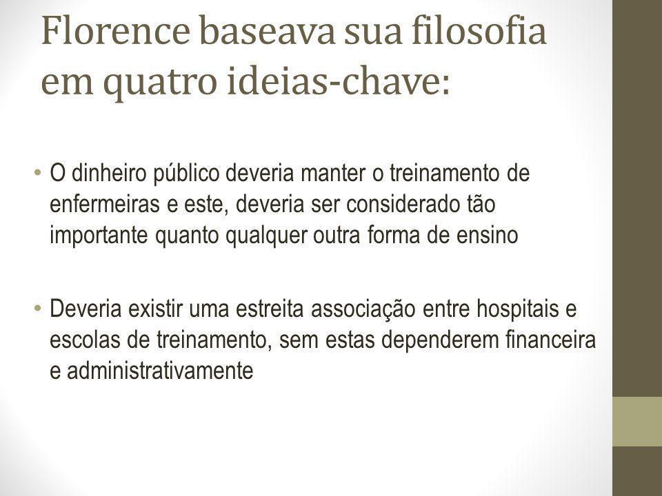 Florence baseava sua filosofia em quatro ideias-chave: O dinheiro público deveria manter o treinamento de enfermeiras e este, deveria ser considerado