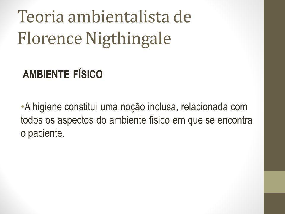 Teoria ambientalista de Florence Nigthingale AMBIENTE FÍSICO A higiene constitui uma noção inclusa, relacionada com todos os aspectos do ambiente físi