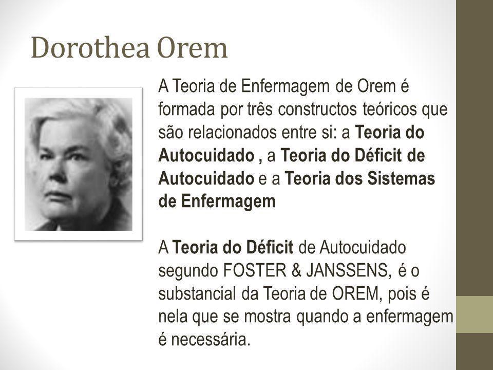 Dorothea Orem A Teoria de Enfermagem de Orem é formada por três constructos teóricos que são relacionados entre si: a Teoria do Autocuidado, a Teoria