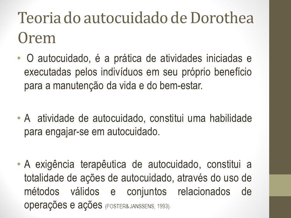 Teoria do autocuidado de Dorothea Orem O autocuidado, é a prática de atividades iniciadas e executadas pelos indivíduos em seu próprio benefício para