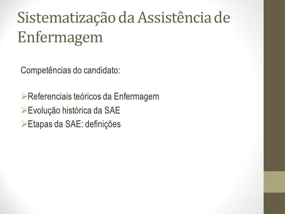 Sistematização da Assistência de Enfermagem Competências do candidato: Referenciais teóricos da Enfermagem Evolução histórica da SAE Etapas da SAE: de