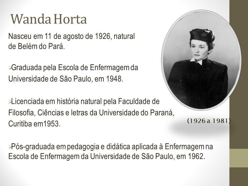 Wanda Horta (1926 a 1981) Nasceu em 11 de agosto de 1926, natural de Belém do Pará. Graduada pela Escola de Enfermagem da Universidade de São Paulo, e