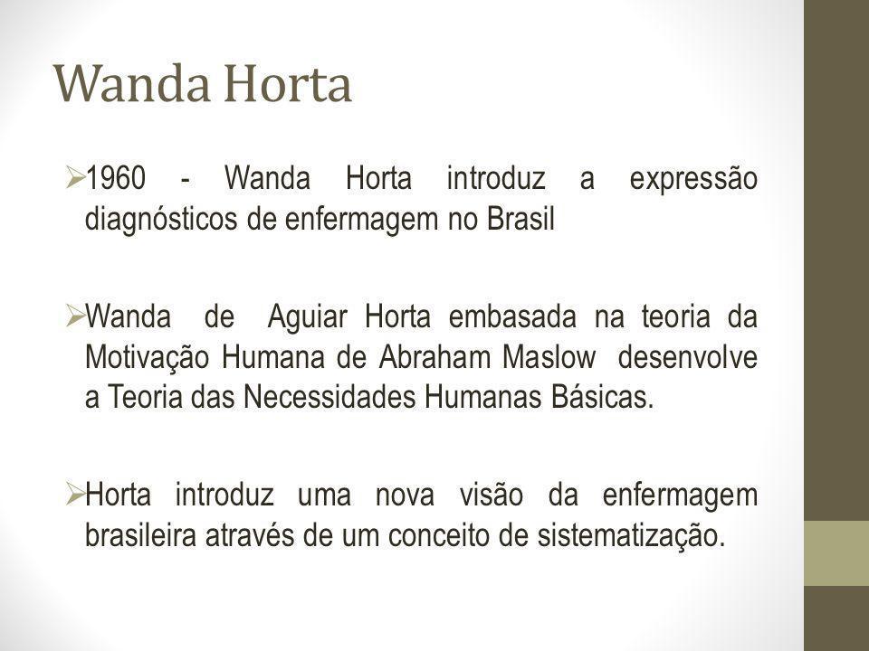 Wanda Horta 1960 - Wanda Horta introduz a expressão diagnósticos de enfermagem no Brasil Wanda de Aguiar Horta embasada na teoria da Motivação Humana