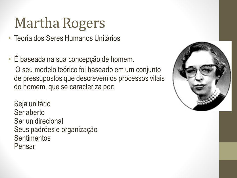 Martha Rogers Teoria dos Seres Humanos Unitários É baseada na sua concepção de homem. O seu modelo teórico foi baseado em um conjunto de pressupostos