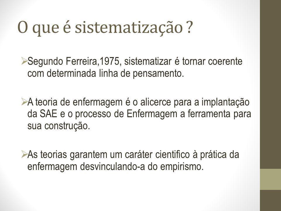 O que é sistematização ? Segundo Ferreira,1975, sistematizar é tornar coerente com determinada linha de pensamento. A teoria de enfermagem é o alicerc