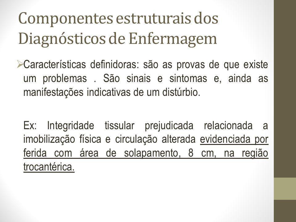 Componentes estruturais dos Diagnósticos de Enfermagem Características definidoras: são as provas de que existe um problemas. São sinais e sintomas e,