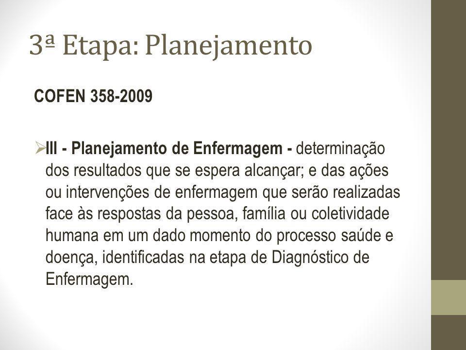 3ª Etapa: Planejamento COFEN 358-2009 III - Planejamento de Enfermagem - determinação dos resultados que se espera alcançar; e das ações ou intervençõ