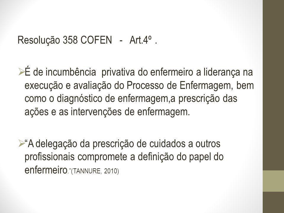 Resolução 358 COFEN - Art.4º. É de incumbência privativa do enfermeiro a liderança na execução e avaliação do Processo de Enfermagem, bem como o diagn