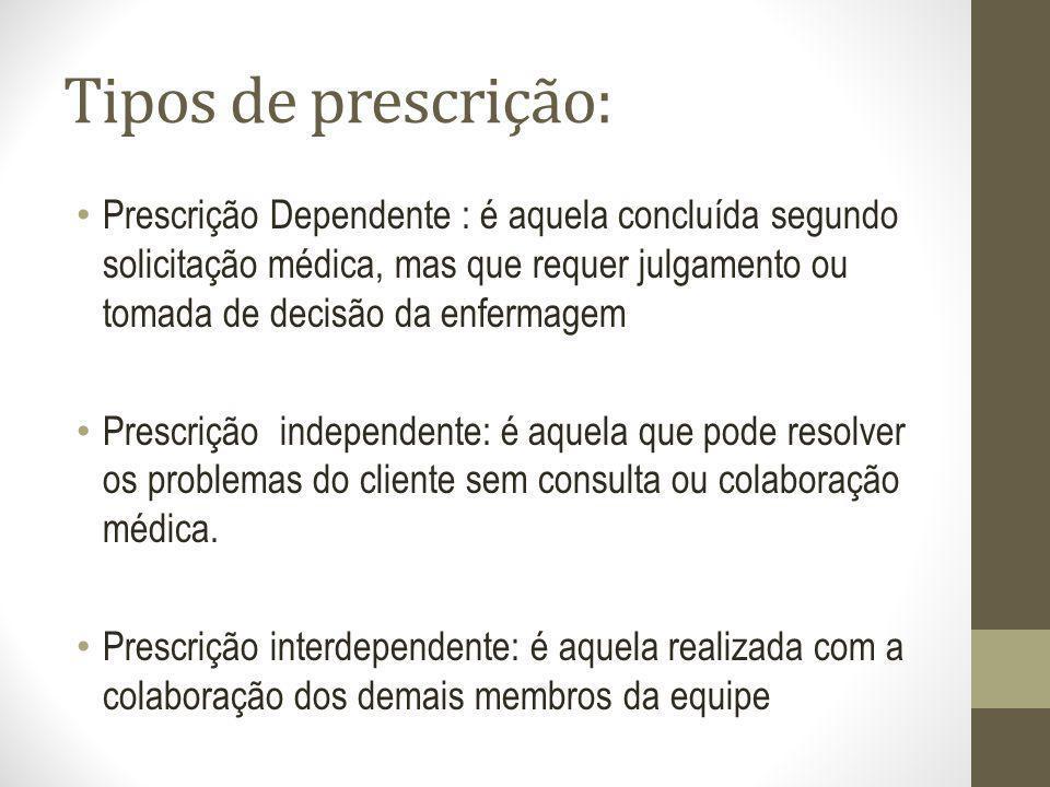 Tipos de prescrição: Prescrição Dependente : é aquela concluída segundo solicitação médica, mas que requer julgamento ou tomada de decisão da enfermag
