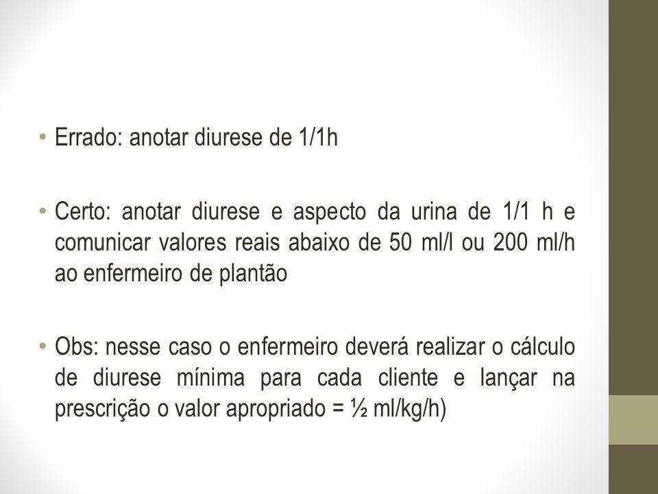 Errado: anotar diurese de 1/1h Certo: anotar diurese e aspecto da urina de 1/1 h e comunicar valores reais abaixo de 50 ml/l ou 200 ml/h ao enfermeiro