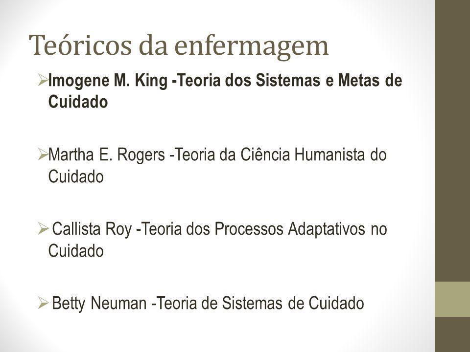 Teóricos da enfermagem Imogene M. King -Teoria dos Sistemas e Metas de Cuidado Martha E. Rogers -Teoria da Ciência Humanista do Cuidado Callista Roy -