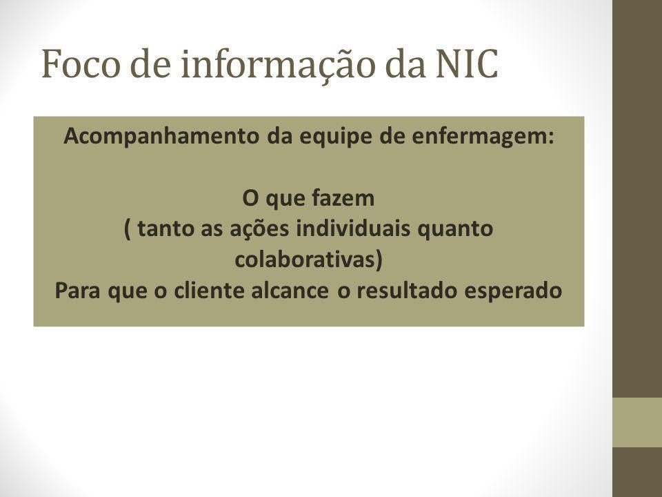 Foco de informação da NIC Acompanhamento da equipe de enfermagem: O que fazem ( tanto as ações individuais quanto colaborativas) Para que o cliente al