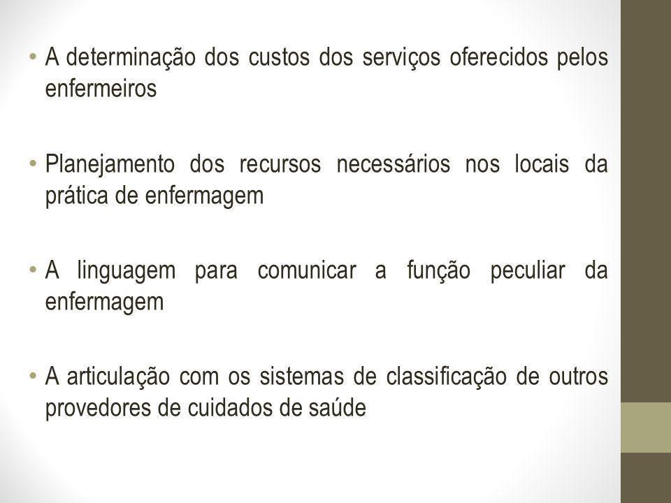 A determinação dos custos dos serviços oferecidos pelos enfermeiros Planejamento dos recursos necessários nos locais da prática de enfermagem A lingua