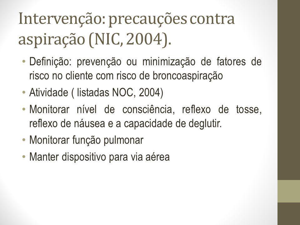 Intervenção: precauções contra aspiração (NIC, 2004). Definição: prevenção ou minimização de fatores de risco no cliente com risco de broncoaspiração