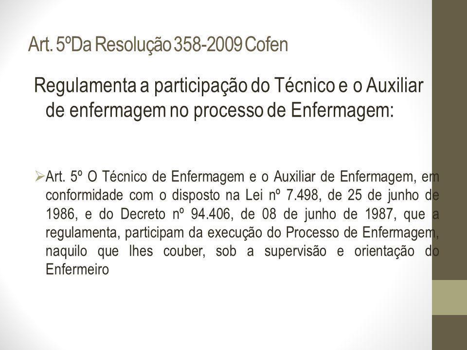 Art. 5ºDa Resolução 358-2009 Cofen Regulamenta a participação do Técnico e o Auxiliar de enfermagem no processo de Enfermagem: Art. 5º O Técnico de En