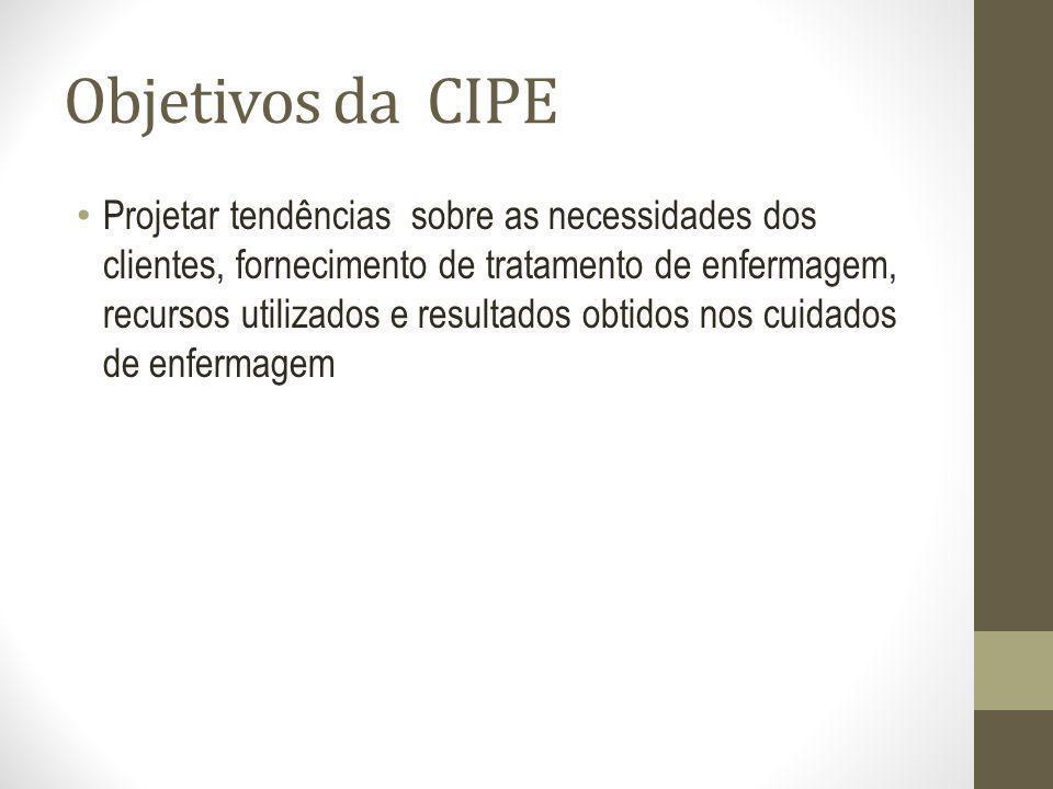 Objetivos da CIPE Projetar tendências sobre as necessidades dos clientes, fornecimento de tratamento de enfermagem, recursos utilizados e resultados o