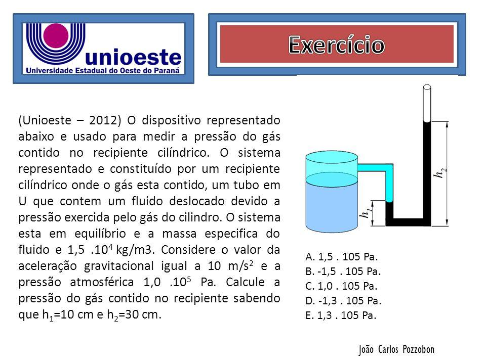 João Carlos Pozzobon (Unioeste – 2012) O dispositivo representado abaixo e usado para medir a pressão do gás contido no recipiente cilíndrico. O siste