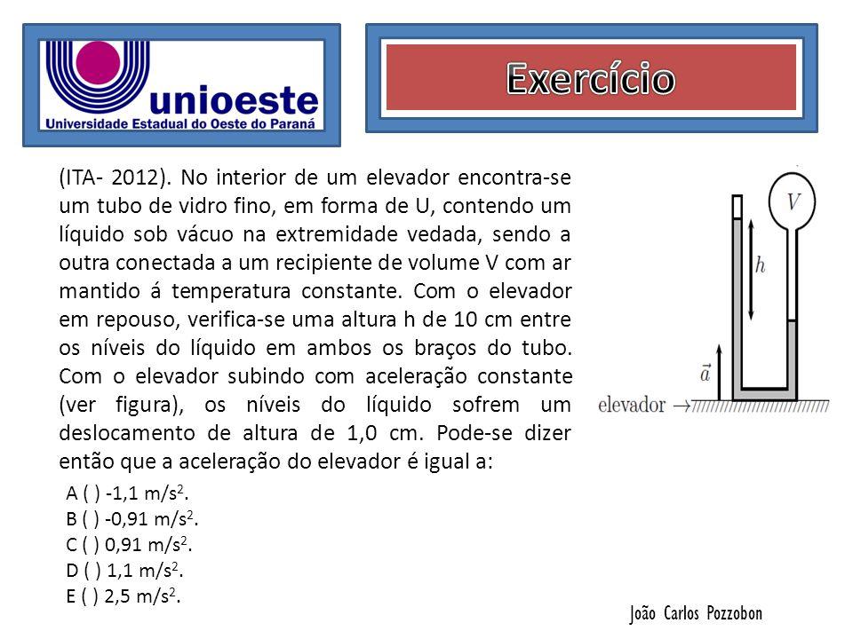 João Carlos Pozzobon (ITA- 2012). No interior de um elevador encontra-se um tubo de vidro fino, em forma de U, contendo um líquido sob vácuo na extrem
