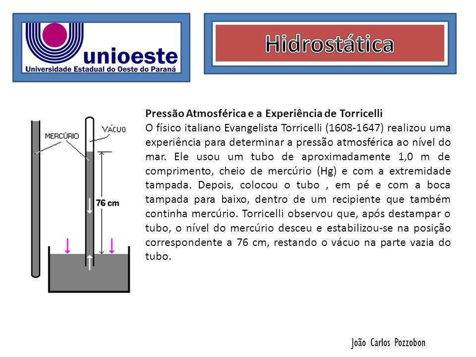 João Carlos Pozzobon Pressão Atmosférica e a Experiência de Torricelli O físico italiano Evangelista Torricelli (1608-1647) realizou uma experiência p