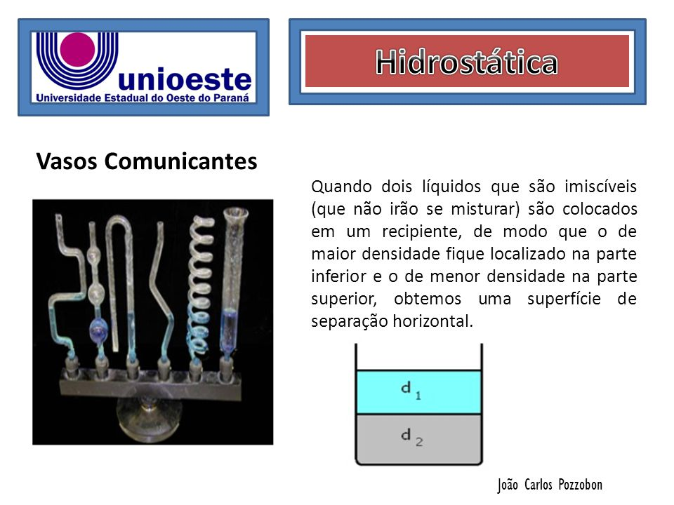 João Carlos Pozzobon Vasos Comunicantes Quando dois líquidos que são imiscíveis (que não irão se misturar) são colocados em um recipiente, de modo que