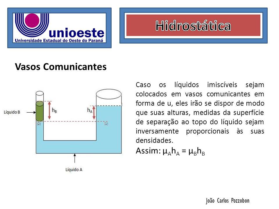 João Carlos Pozzobon Vasos Comunicantes Caso os líquidos imiscíveis sejam colocados em vasos comunicantes em forma de u, eles irão se dispor de modo q