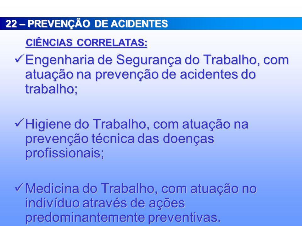 PREVENÇÃO DE ACIDENTES DO TRABALHO : PREVENÇÃO DE ACIDENTES DO TRABALHO : REPRESENTAM TODOS OS PROCEDIMENTOS E COMPORTAMENTOS ADOTADOS COM A FINALIDAD