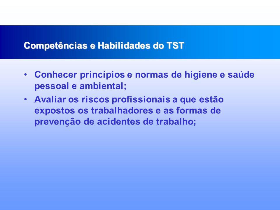Conhecer os fundamentos de prevenção à saúde; Identificar os determinantes e condicionantes do processo saúde – doença; Conhecer normas de biossegurança; Competências e Habilidades do TST