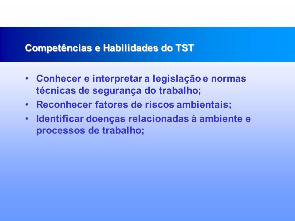 Conhecer princípios e normas de higiene e saúde pessoal e ambiental; Avaliar os riscos profissionais a que estão expostos os trabalhadores e as formas de prevenção de acidentes de trabalho; Competências e Habilidades do TST