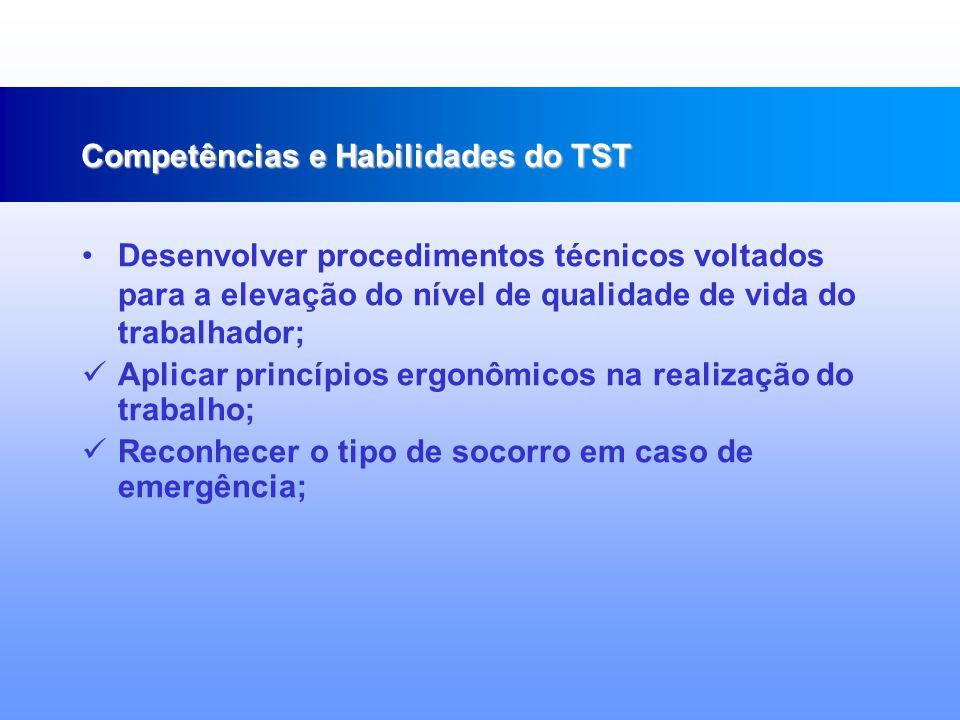 Conhecer e interpretar a legislação e normas técnicas de segurança do trabalho; Reconhecer fatores de riscos ambientais; Identificar doenças relacionadas à ambiente e processos de trabalho; Competências e Habilidades do TST