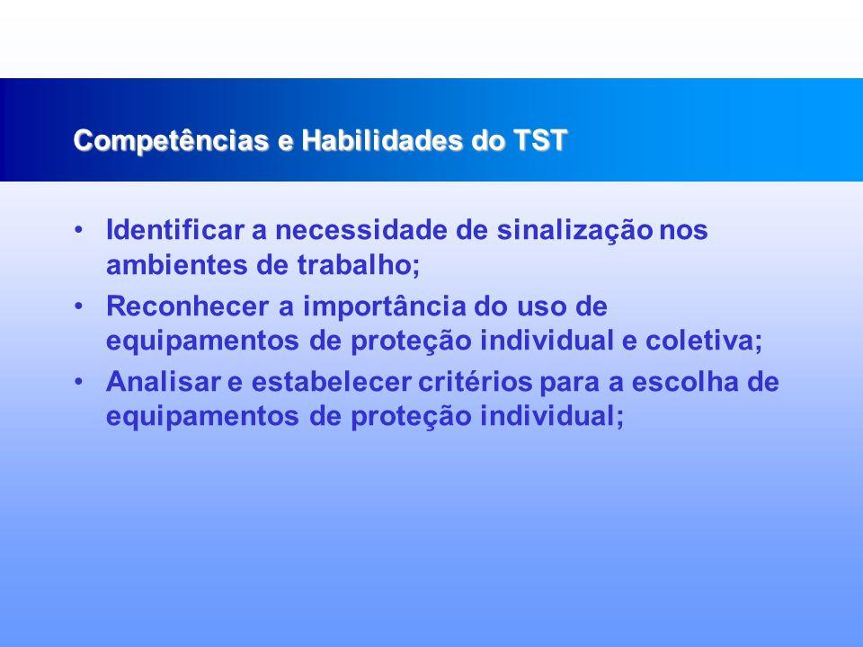Desenvolver procedimentos técnicos voltados para a elevação do nível de qualidade de vida do trabalhador; Aplicar princípios ergonômicos na realização do trabalho; Reconhecer o tipo de socorro em caso de emergência; Competências e Habilidades do TST
