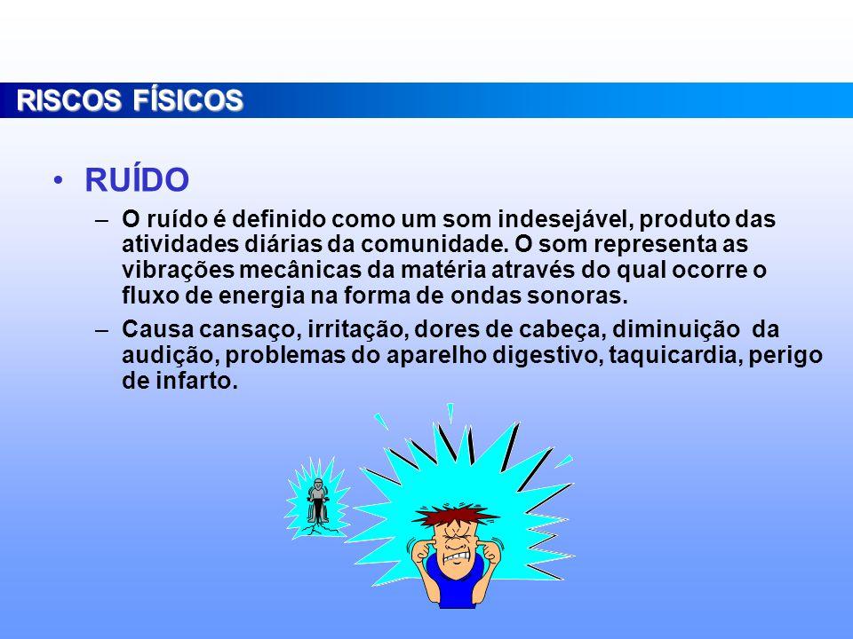 Consideram-se agentes de risco físico as diversas formas de energia a que possam estar expostos os trabalhadores, tais como: –Ruído –Calor –Frio –Pressão –Umidade –radiações ionizantes e não-ionizantes –vibração RISCOS FÍSICOS