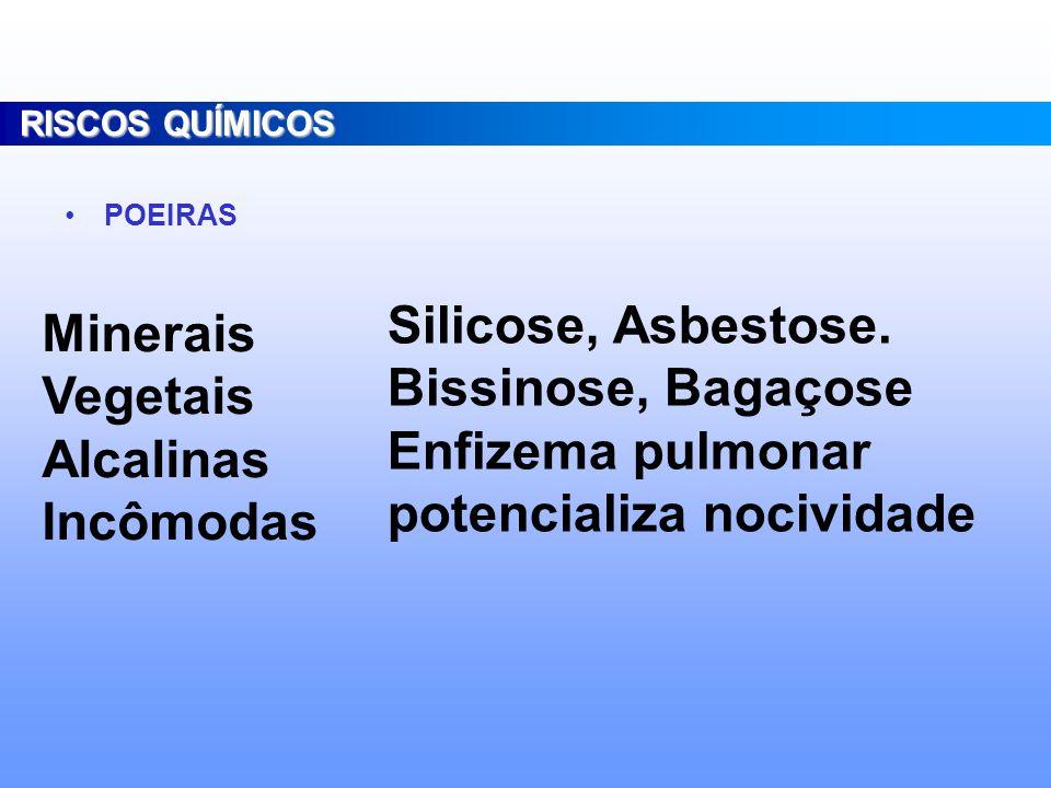 Consideram-se agentes de risco químico as substâncias, compostos ou produtos que possam penetrar no organismo do trabalhador pela via respiratória, na